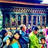 Locals at the Buddhist shrine in Thimphu