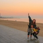 Bronte and me rollerblading around Barcelona for my last weekend