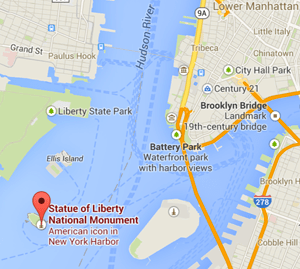 map statue of liberty nyc