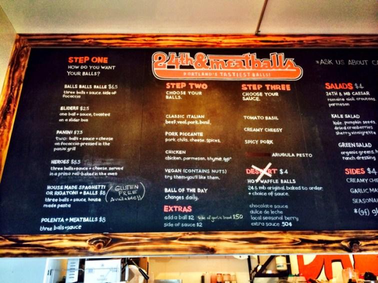 24th and meatball menu Portland Oregon