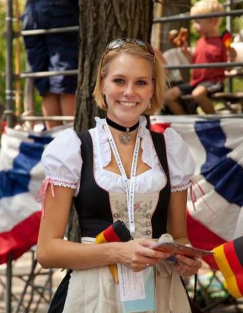 "The traditional dress worn by Bavarian women at Oktoberfest, the dirndl consists of a bodice, blouse, full skirt, and apron. Originally, women from each village would come dressed to Oktoberfest in a style and crest unique to their village, helping to derive the great variety of dress often seen at the festival today. The placement of the knot on the Dirndl also holds special significance. A knot tied on the left side indicates she is single, a knot on the right means she is married or ""taken"", a knot in front means she's a virgin, while a knot on the back means she is widowed."
