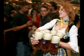 As you can guess, beer is the beverage of choice at Oktoberfest, including 7.5 million liters (about 2 million gallons) consumed during last year's event! In order to qualify as an oktoberfestbier, the beer must be brewed within the city limits. All oktoberfestbiers are provided by only six breweries: Spaten, Löwenbräu, Augustiner-Bräu, Hofbräu-München, Paulaner and Hacker-Pschorr. Each one of these breweries will begin to brew their batch of Märzenbiers (March beer) during (you guessed it) March. Märzenbiers have a higher alcohol content in order to last throughout the summer, just in time for Oktoberfest.