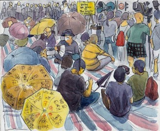 """""""Sunday, October 5th - Honk Kong lives a moment of indecision, fatigue and hope that at the voice of the thousands of people protesting on the streets can be heard around the world."""" - Luís Simões"""