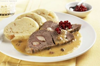 Svíčková na smetaně: If there's one dish the Czech believe it's essential to their national food, this one would be it. It's beef sirloin is doused in a vegetable-based gravy then topped with cranberry sauce. It's beyond delicious! (Photo credit: czechspecials.cz)