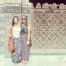 Madeline and Stephanie explore Morocco in floral wide-leg pants. Stop everything and re-cog-nize that wide-leg shape is notoriously flattering on all body types. Your welcome. With a bold print pant, choose a fitted top with a slim silhouette, and let the attention go to your dope pantaloons. Don't be surprised when men don't understand them and it takes a cavity search to convince you to take them off. Shop Madeline and Stephanie's look.