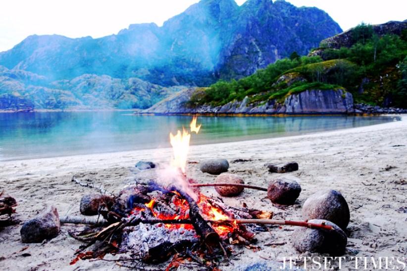 Lofoten Islands Norway bonfire