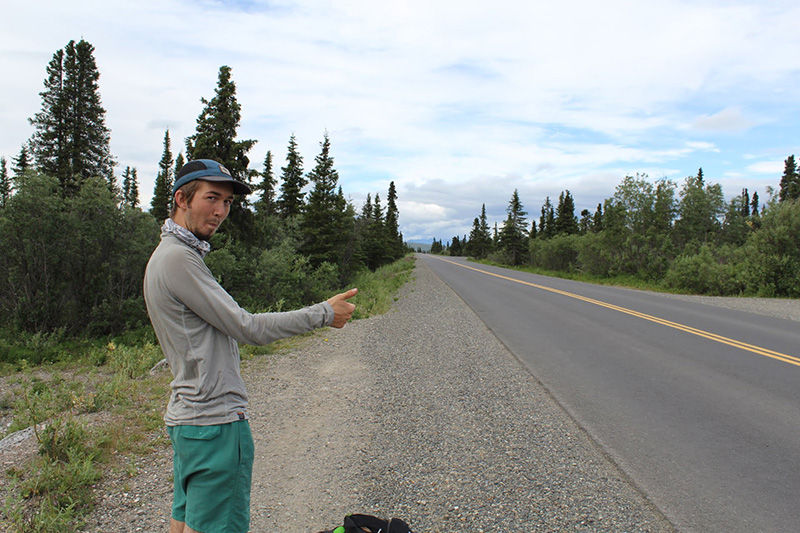 Hitchhiking in Denali National Park, Alaska.