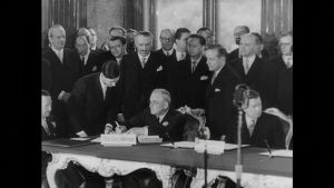 The Austrian State Treaty grants the country independence, the Declaration of Neutrality makes the country neutral, and it joins the United Nations.