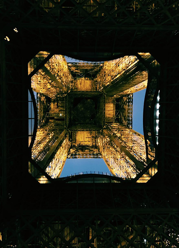 Under the Eiffel Tower.