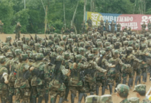 FARC guerrillas marching in formation during the Caguan peace talks (1998–2002)