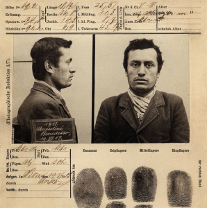 Mussolini's booking file following his arrest by the police on 19 June 1903, Bern, Switzerland