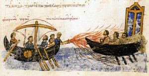 Greek fire was first used by the Byzantine Navy during the Byzantine–Arab Wars (from the Madrid Skylitzes, Biblioteca Nacional de España, Madrid).