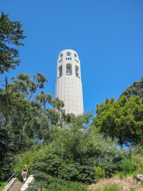 View looking up at Coit Tower, San Francisco