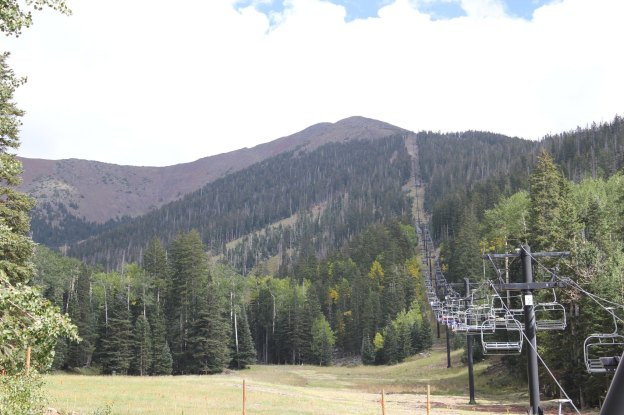 The Sky Ride chair lift to the top of Agassiz Peak in Flagstaff, Arizona