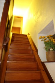 Stairs leading to Attic Apartment at Hotel San Nikolas in Hondarribia, Spain