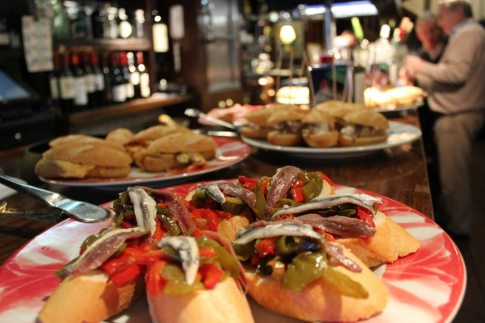 Platters of pintxos on a bar in Hondarribia, Spain