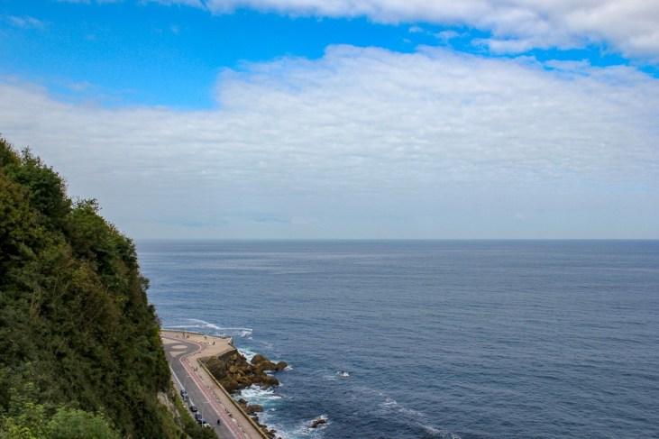 Stretching sea views from Monte Urgull trails in San Sebastian, Spain