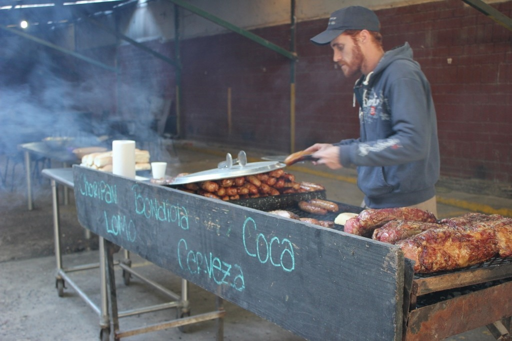 Street food, like Choripans, are on sale along the Flea Market in Buenos Aires, Argentina