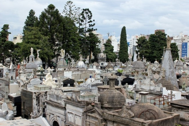 Looking over grave sites at Recoleta Cemetery in Buenos Aires, Argentina