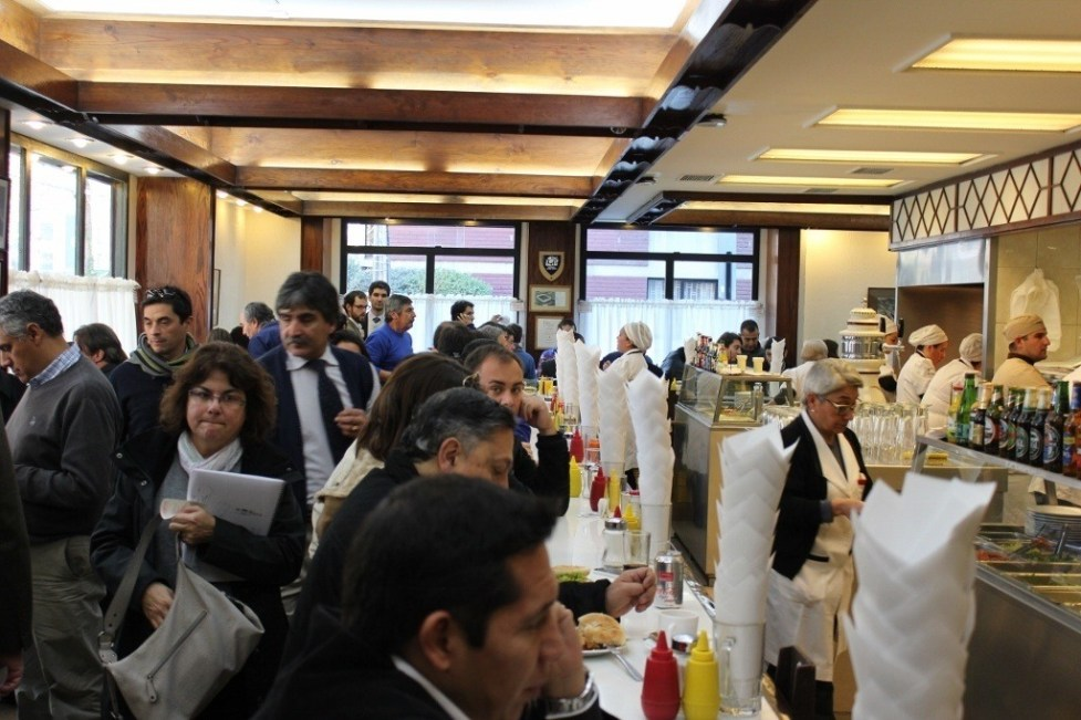 Fuente Alemana - packed at lunchtime with locals - in Santiago, Chile