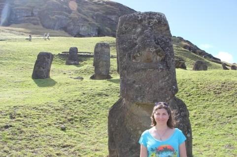 Posing with Moai at Rano Raraku Quarry