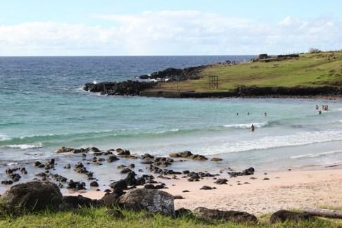 Swimming at Easter Island Beach, Anakena