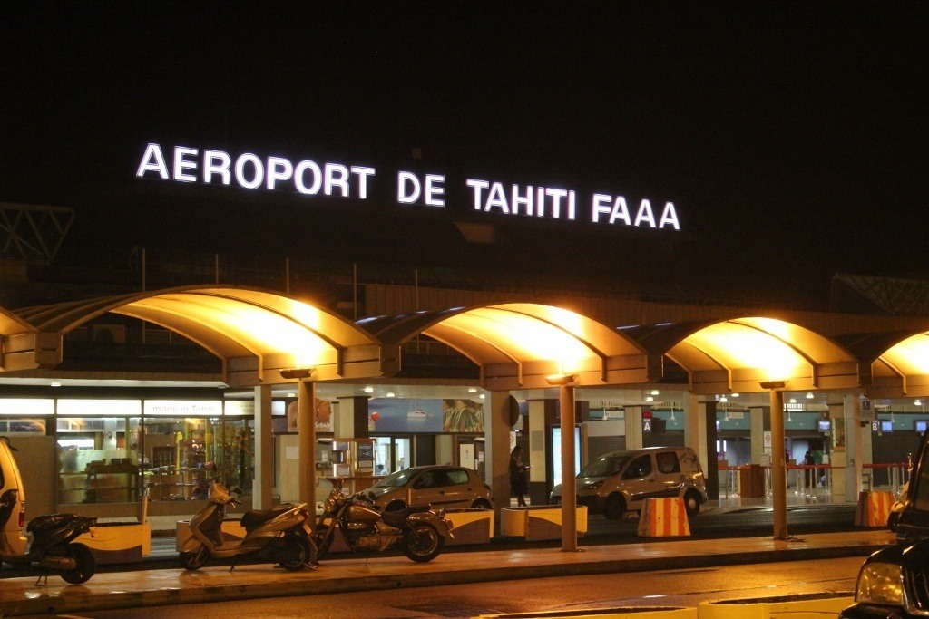 Our first night in French Polynesia was spent snoozing on the airport floor