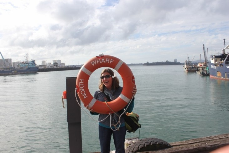 North Wharf life preserver on the harbor in Auckland, New Zealand