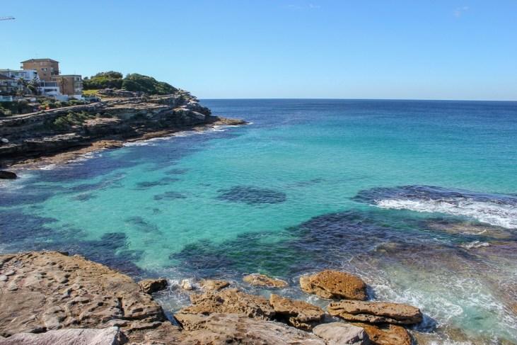 Blue ocean water along coastline between Bondi and Coogee, Australia