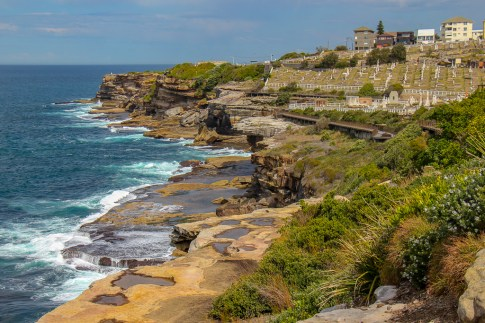 Coastline views of Waverley Cemetery from Bronte on Bondi to Coogee Coastal Walk in Sydney, Australia