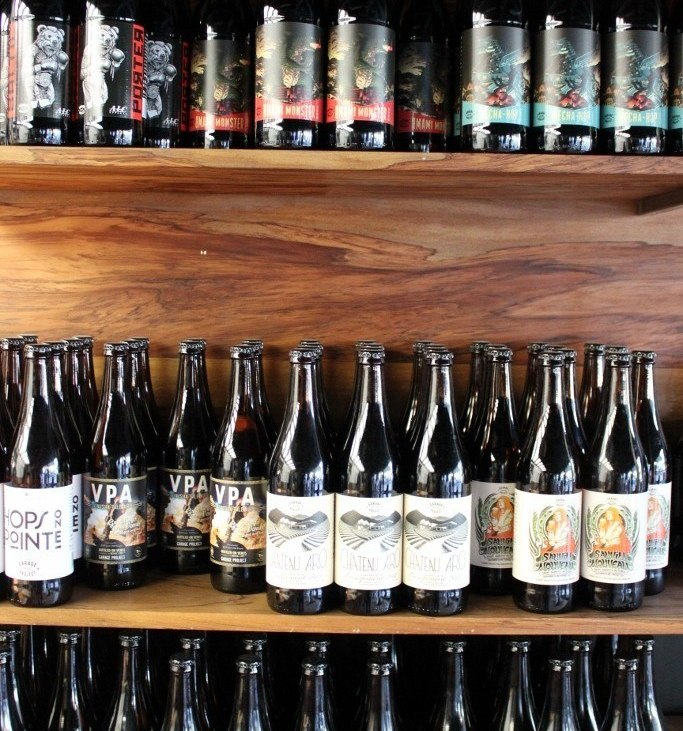Bottles of beer for sale at Garage Project in Wellington, New Zealand