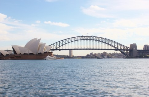 Sydney Harbour Bridge and Sydney Opera House from Mrs. Macquarie's Chair in Sydney, Australia