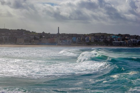 Stormy waves crashing on shore at Bondi Beach, Australia