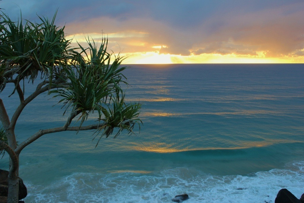 Sunrise from Point Danger in Coolangatta, Gold Coast, Australia