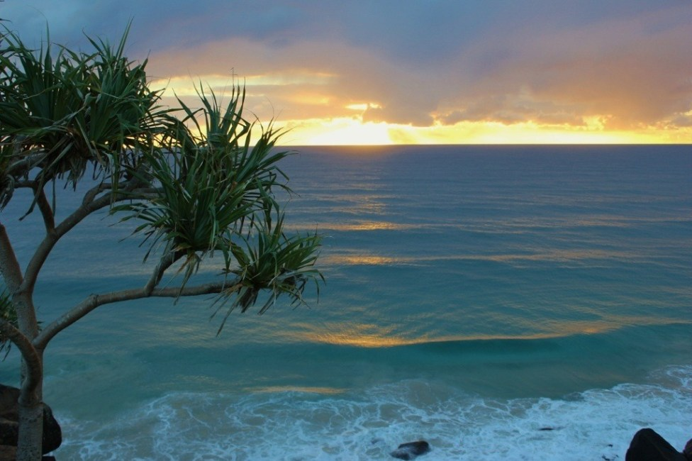 Sunrise from Point Danger in Coolangatta, Gold Coast, Australia