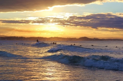 Surfers ride waves at sunset in Coolangatta, Gold Coast, Australia