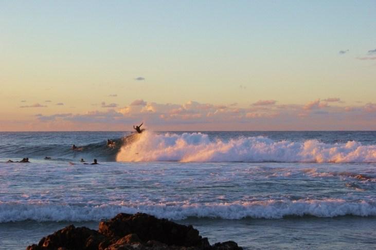 Surfers at Snapper Rocks in Coolangatta, Gold Coast, Australia