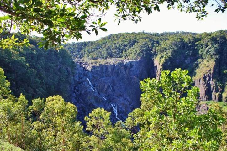 View of Barron Falls from scenic railway from Kuranda to Carins in Australia