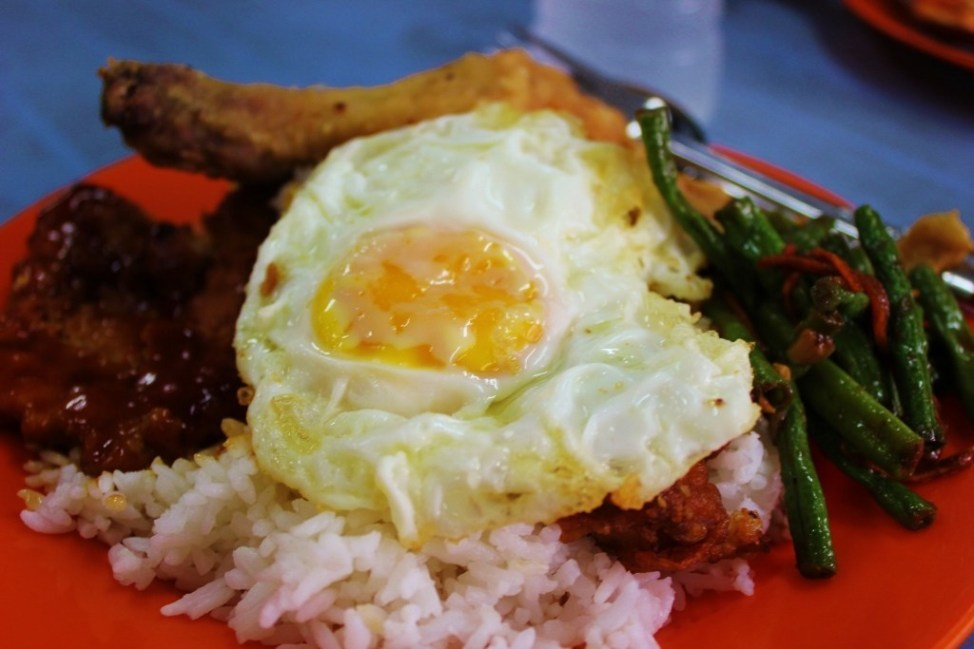 A plate of local food from a hawker stall in Johor Bahru, Malaysia