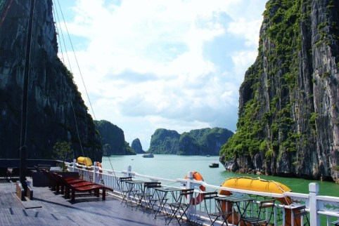 Open-air rooftop deck on Halong Bay junk boat cruise in Vietnam