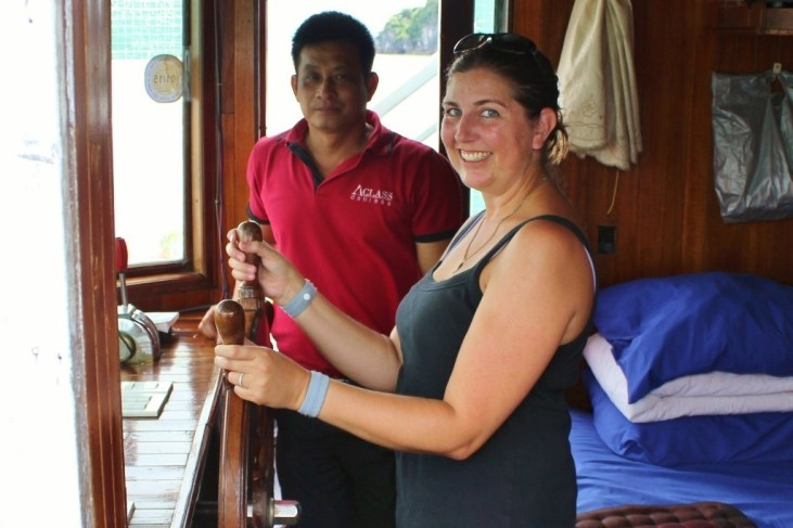 Sarah in the wheelhouse on the last day on Halong Bay
