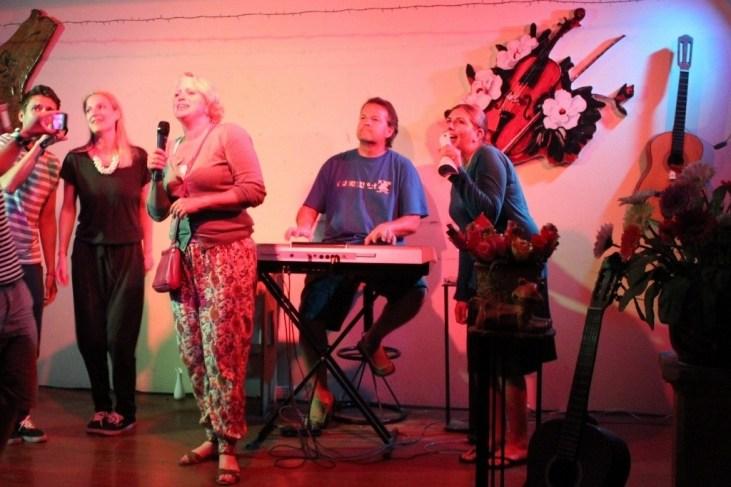 Singing Karaoke at local Dalat Bar