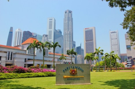 Parliament and skyscrapers in Singapore