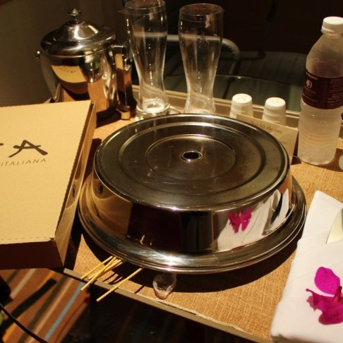 Room service from Tosca restaurant at Doubletree Hilton Hotel in Johor Bahru, Malaysia