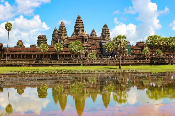Reflections of Angkor Wat temple at Angkor Park in Siem Reap, Cambodia
