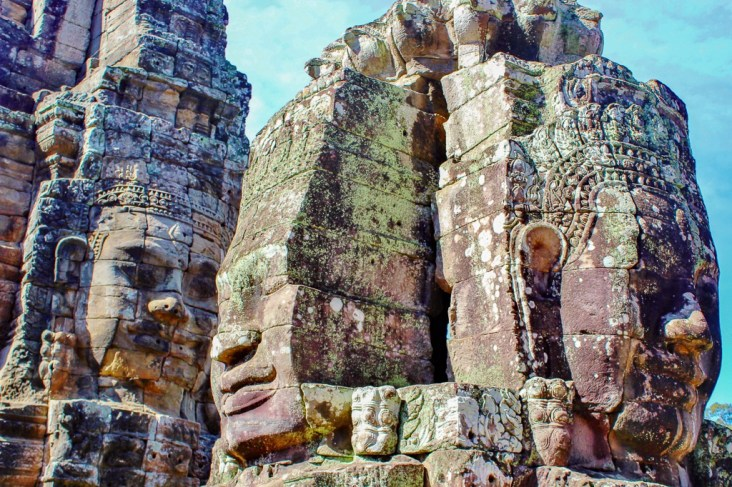 Famous Bayon Temple faces at Angkor Park in Siem Reap, Cambodia