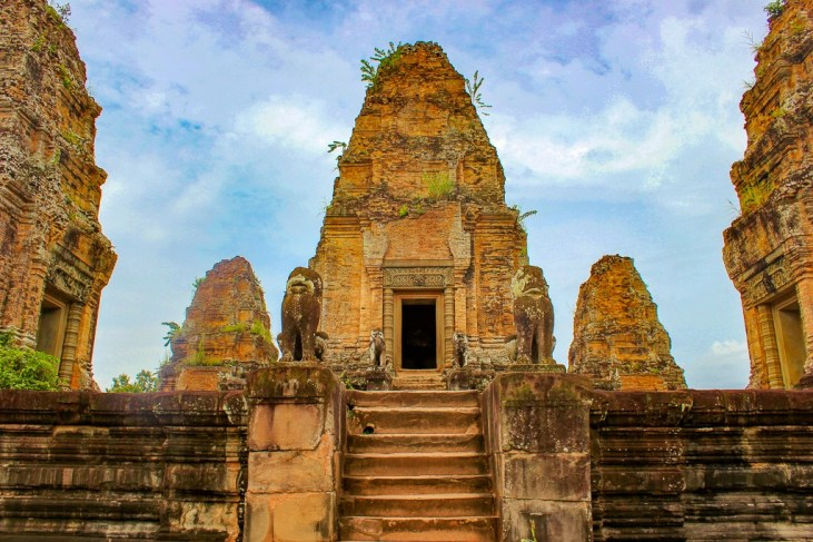 Tower at Eastern Mebon at Angkor Park in Siem Reap, Cambodia