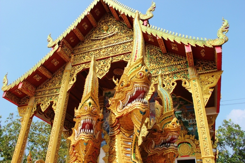 Naga Snakes at Doi Kham Temple in Chiang Mai, Thailand