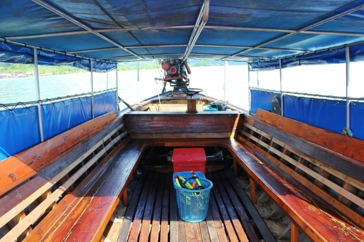 Inside our Longtail boat on a Four Island Tour from Koh Lanta, Thailand