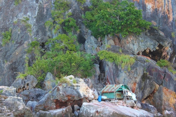 Falling-down shack on Koh Maa on 4 Island Tour from Koh Lanta, Thailand